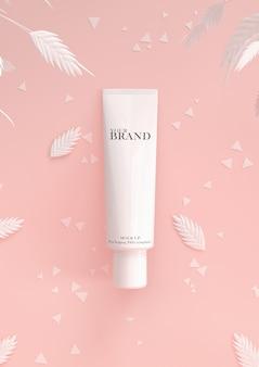 Cosmetica premium per la cura della pelle idratante sulla superficie delle foglie