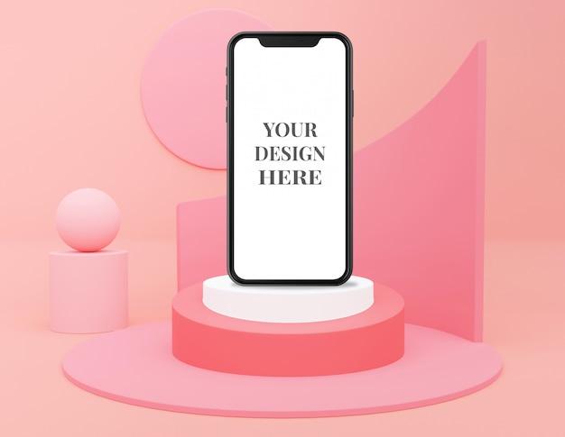 Cosmetico monocromatico pastello rosa per presentazione di prodotti e telefoni