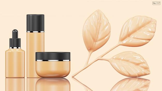 Cosmetisch product en foundation in de vorm van blad. 3d render