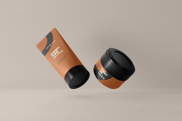 Cosmetische buis en pot mockup perspectiefweergave