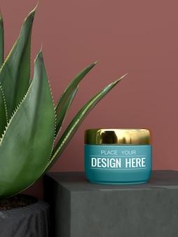 Cosmetische container mockup voor crème, lotion, serum, huidverzorging lege flesverpakking