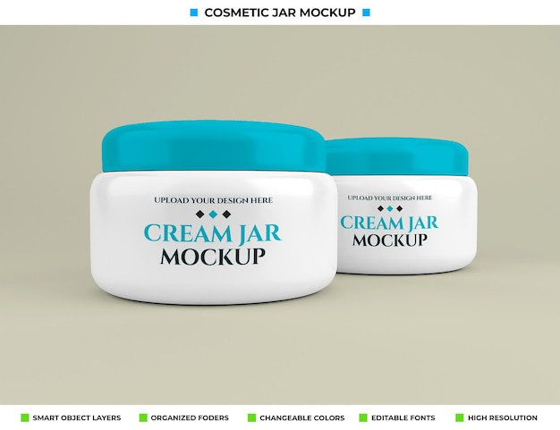 Cosmetische crème pot mockup in schoonheidsconcept