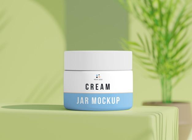 Cosmetische crème witte pot mockup
