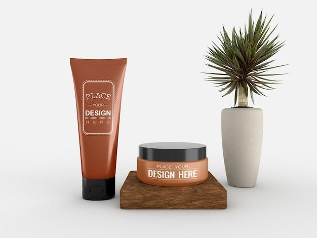Cosmetische crèmecontainer en buismodel voor room
