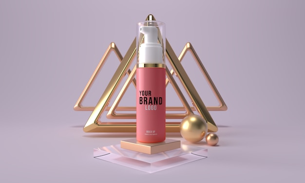 Cosmetische fles met dispensermodel. 3d de container van het de zorgproduct van de schoonheidshuid geeft terug