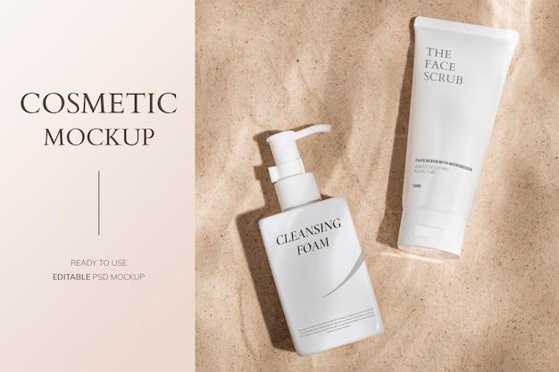 Cosmetische fles mockup psd, productverpakking voor schoonheids- en huidverzorgingsset