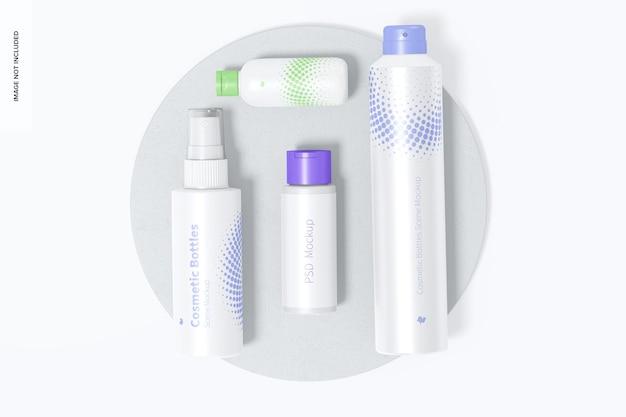 Cosmetische flessen scène mockup bovenaanzicht