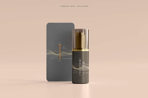 Cosmetische pomp met verticale kaartfles mockup