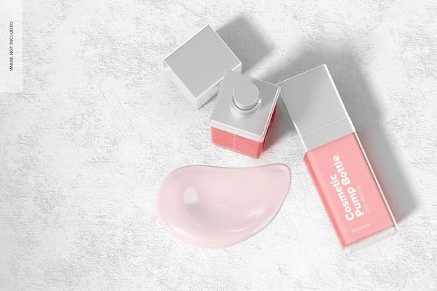 Cosmetische pompflessen mockup, bovenaanzicht