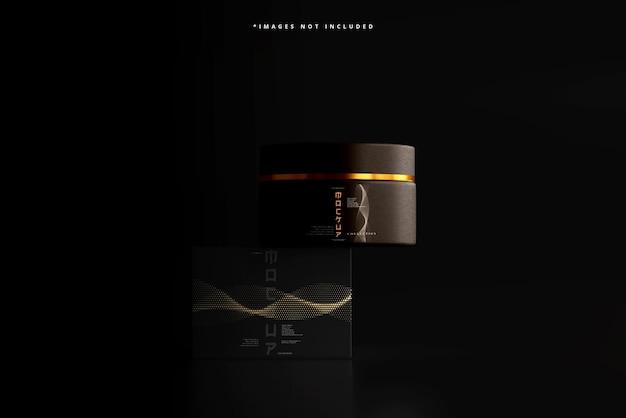 Cosmetische pot en doos mockup