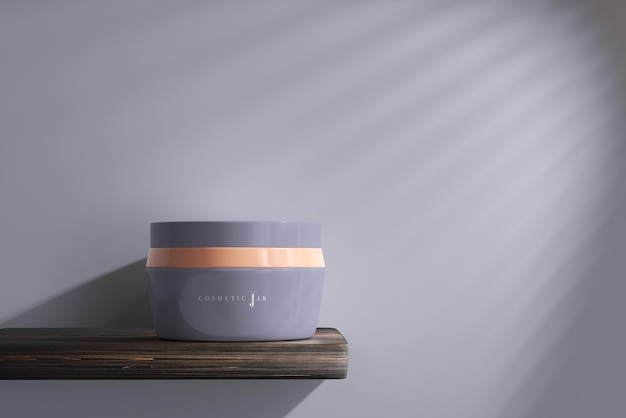 Cosmetische potmodel op plank Premium Psd