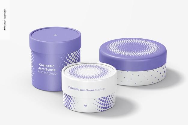 Cosmetische potten scène mockup, perspectiefweergave