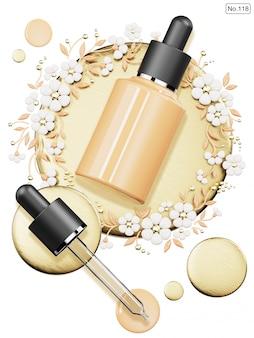 Cosmetische producten en foundation laten vallen. 3d render