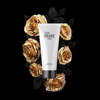 Cosmetische tube mockup op zwart whit gouden roos