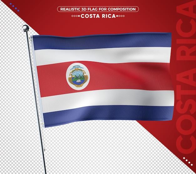 Costa rica 3d-vlag met realistische textuur