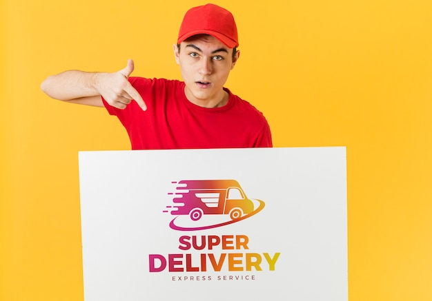Courier bedrijf kartonnen mock-up