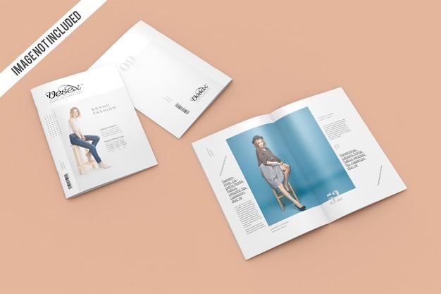Cover met open tijdschrift mockup