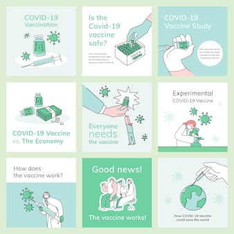 Covid 19 bewerkbare sjablonen psd vaccinatie sociale media post doodle illustratie