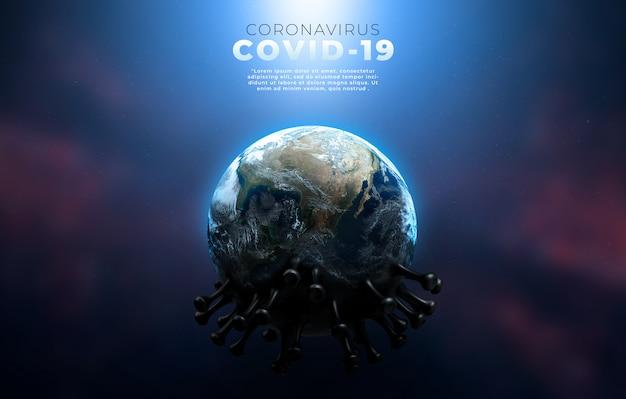 Covid-19, corona-infectie medische illustratie die de structuur van het epidemische virus toont.