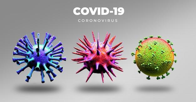Covid-19 coronovirus verschillende afbeeldingen