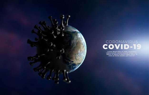 Covid-19, illustrazione medica di infezione da malattia di corona che mostra la struttura del virus dell'epidemia.