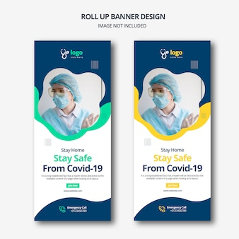 Covid -19 roll up banner design