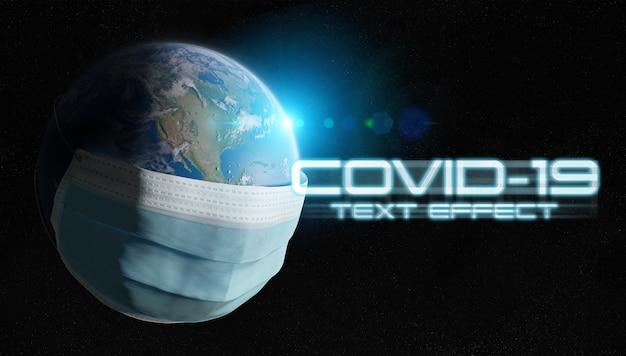 Covid-19 teksteffect met geïsoleerde planeet aarde bedekt door een chirurgisch masker