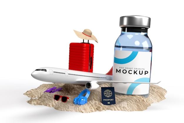 Covid19 vaccins mockup-sjabloon met reizigersaccessoires voor medische ziekenhuiskliniek