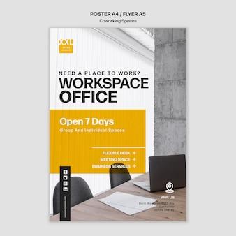 Coworking kantoorruimte sjabloon poster