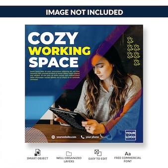 Coworking-ruimte die postsjabloon voor sociale media opent