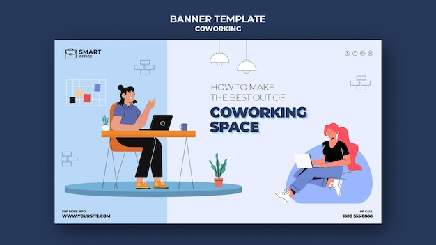 Coworking ruimte horizontale banner