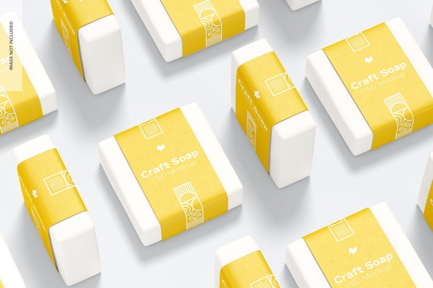 Craft soap met label set mockup
