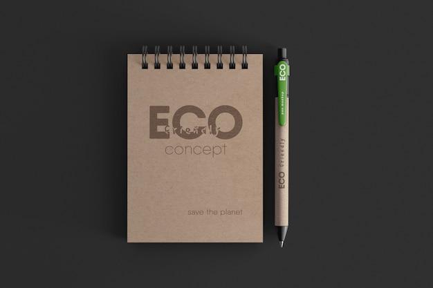 Craft spiraal notitieboek met eco balpen mockup