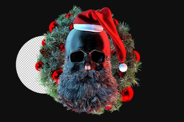 Cráneo de santa claus en el fondo de una corona de navidad representación 3d