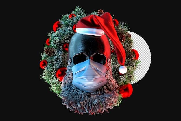 Cráneo de santa claus en máscara médica con corona de navidad en el fondo