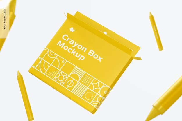 Crayon box mockup, drijvend