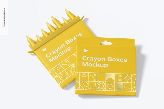 Crayon box mockup, vooraanzicht