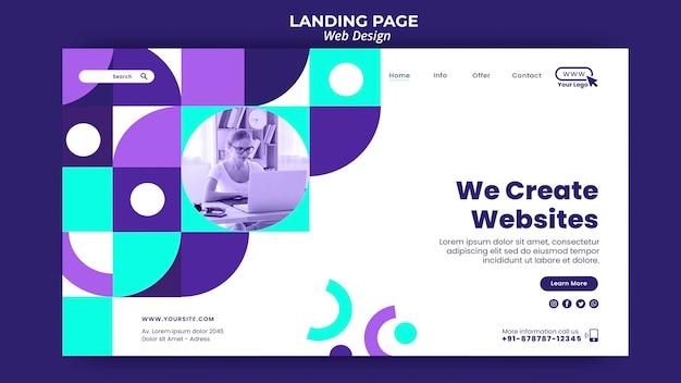 Creación de plantilla de página de destino de sitios web