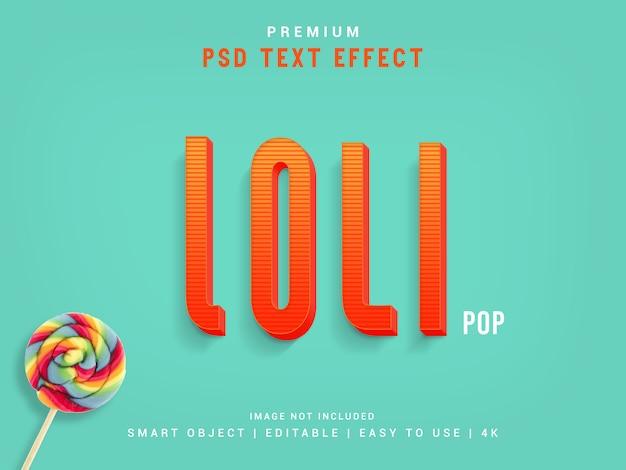 Creador de efectos de texto tipográfico lolipop, plantilla 3d.