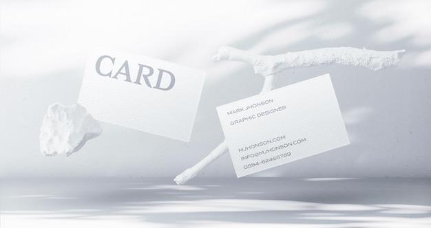Creador de escena de maqueta de tarjeta de visita mínima flotante