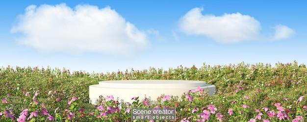 Creador de escena de plataforma blanca en campo de flores.