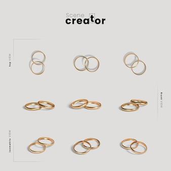 Creador de escenas con anillos de boda.