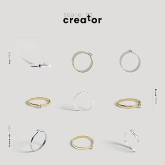 Creador de escenas con anillos de compromiso.