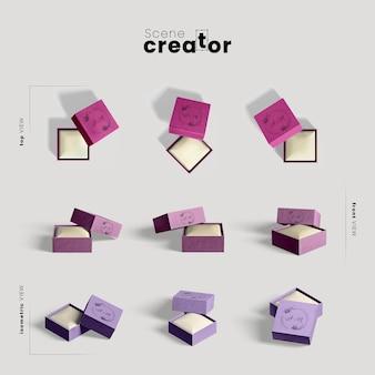 Creador de escenas con cajas de regalo.