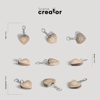 Creador de escenas con llaveros de corazón