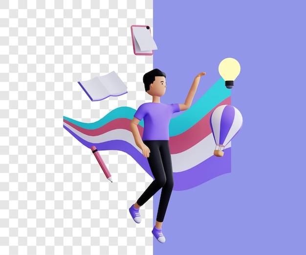 Creatief 3d illustratieconcept met eenvoudig ontwerp