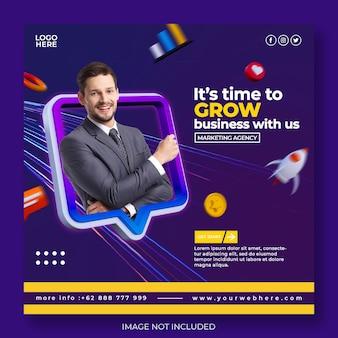 Creatief concept digitaal marketingbureau en social media posttemplat