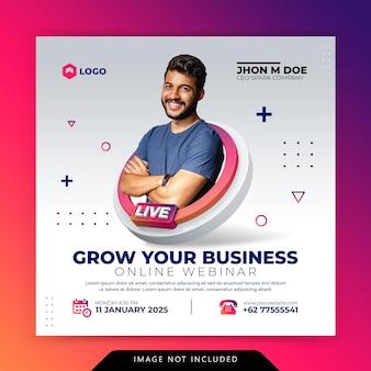 Creatief concept digitale marketing bedrijfspromotie voor sociale mediasjabloon