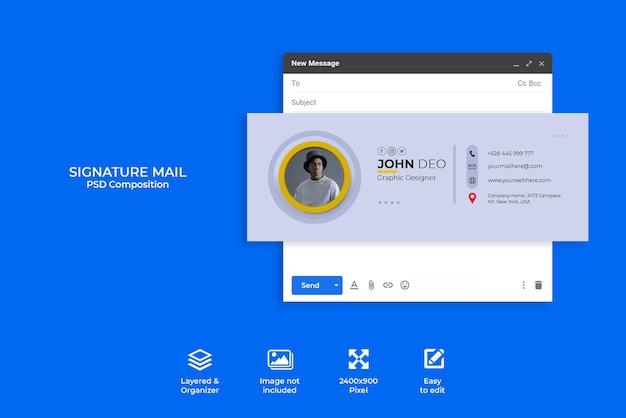 Creatief concept e-mailhandtekeningsjabloonontwerp of e-mailvoettekst en persoonlijke omslag voor sociale media