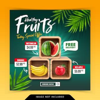 Creatief concept fruit op doos stapel sociale media instagram sociale media postsjabloon